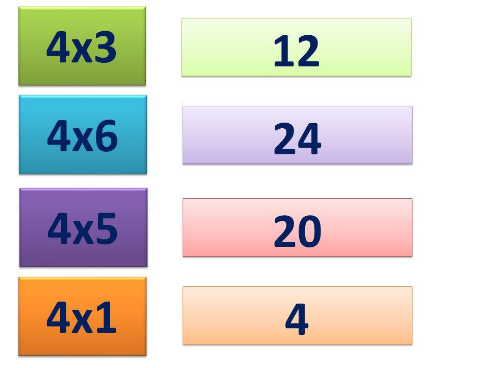 4x3 12 4x6 24 4x5 20 4x1 4
