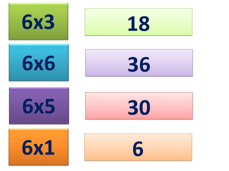 6x3 18 6x6 36 6x5 30 6x1 6