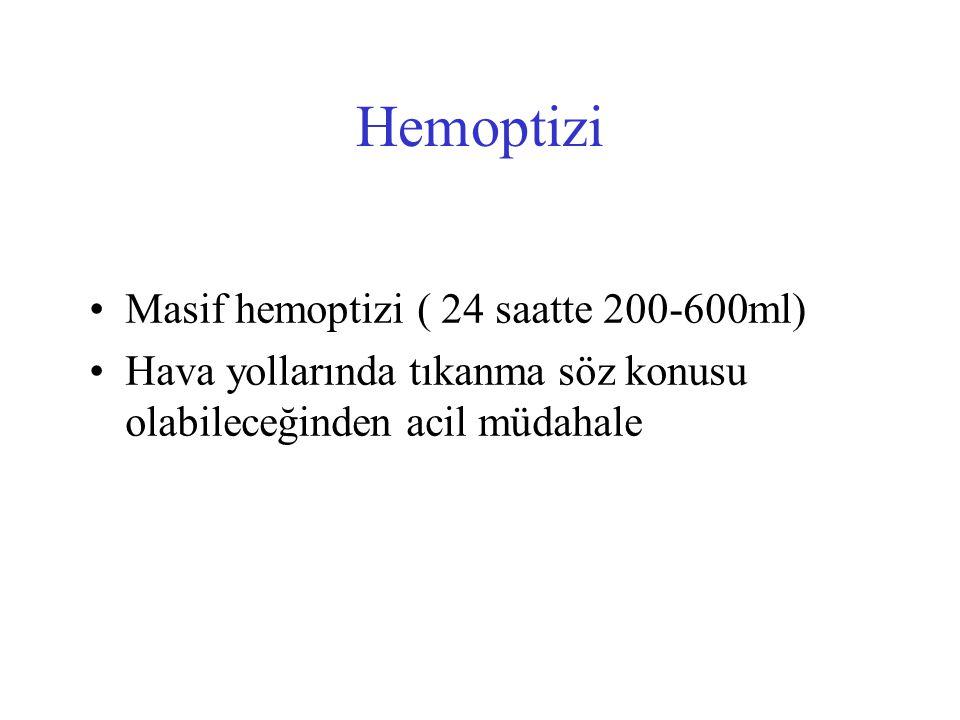 Hemoptizi Masif hemoptizi ( 24 saatte 200-600ml)