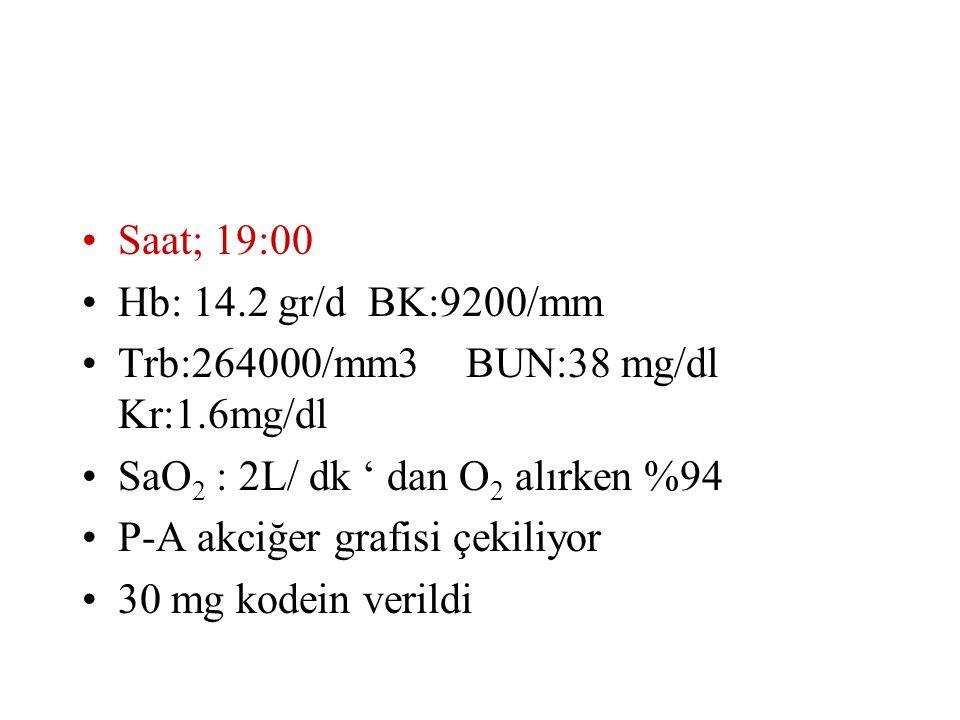 Saat; 19:00 Hb: 14.2 gr/d BK:9200/mm. Trb:264000/mm3 BUN:38 mg/dl Kr:1.6mg/dl. SaO2 : 2L/ dk ' dan O2 alırken %94.