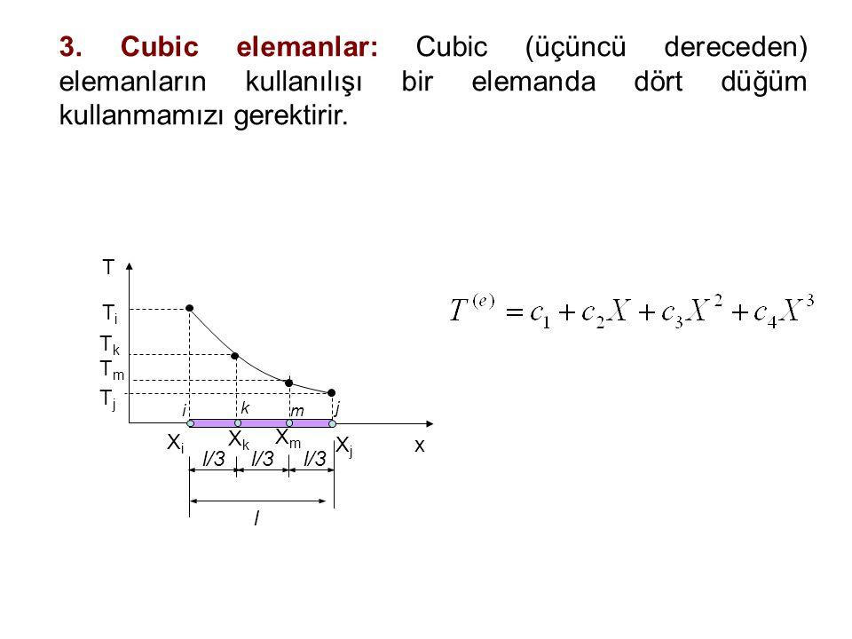 3. Cubic elemanlar: Cubic (üçüncü dereceden) elemanların kullanılışı bir elemanda dört düğüm kullanmamızı gerektirir.