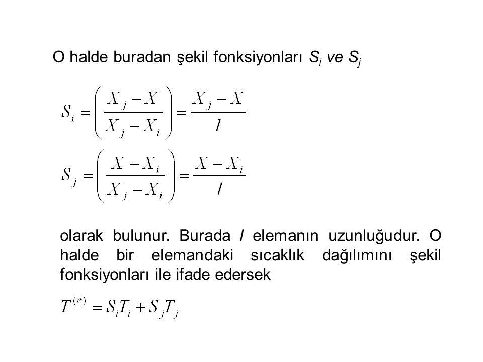 O halde buradan şekil fonksiyonları Si ve Sj