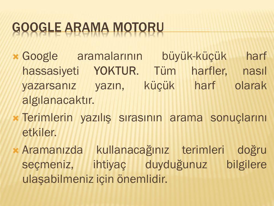 Google arama motoru Google aramalarının büyük-küçük harf hassasiyeti YOKTUR. Tüm harfler, nasıl yazarsanız yazın, küçük harf olarak algılanacaktır.