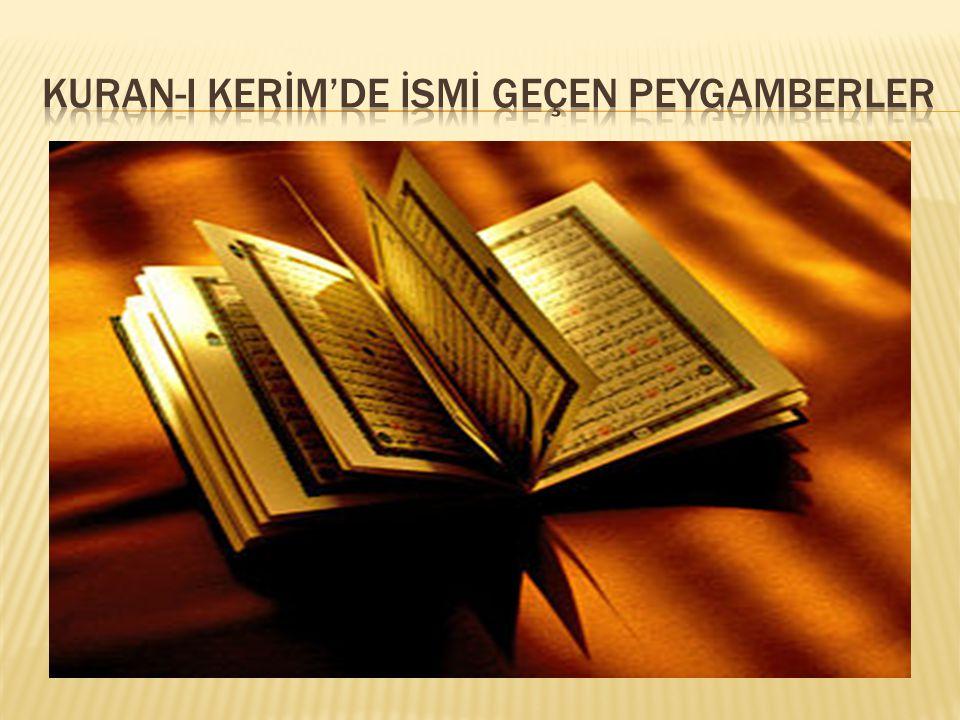 Kuran-I Kerİm'de İsmİ geçen peygamberler