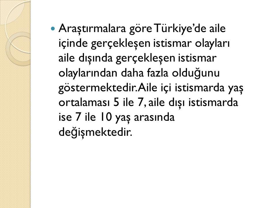 Araştırmalara göre Türkiye'de aile içinde gerçekleşen istismar olayları aile dışında gerçekleşen istismar olaylarından daha fazla olduğunu göstermektedir.