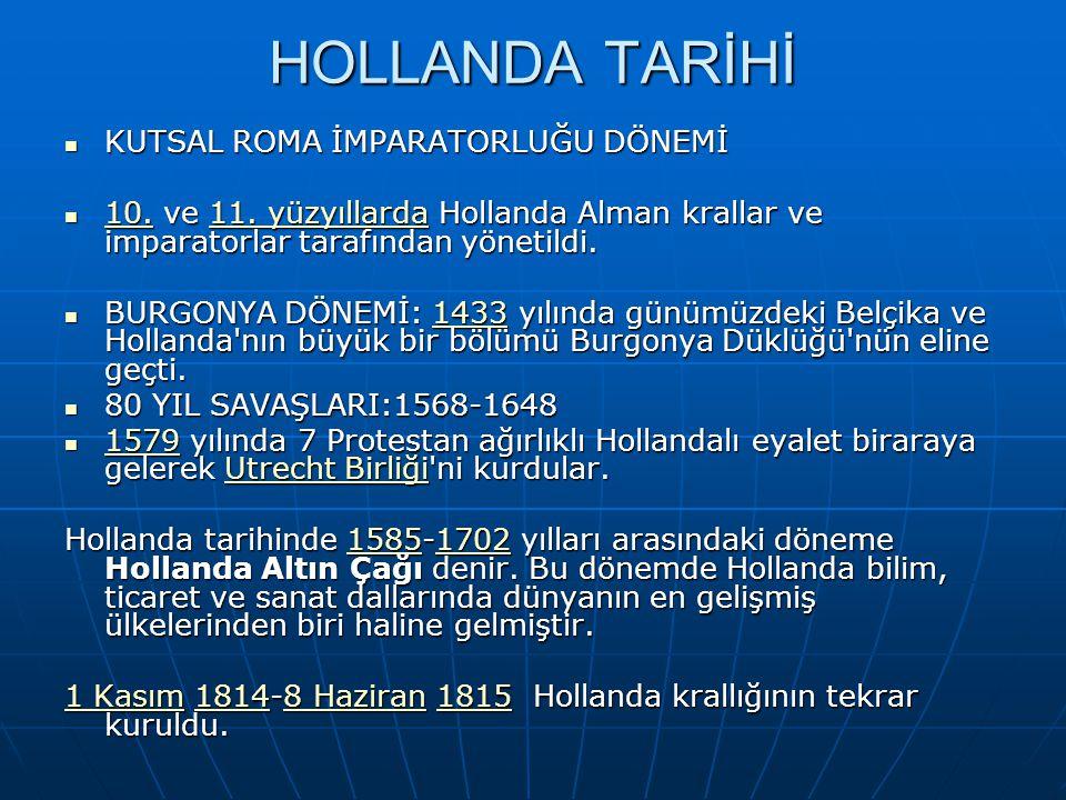 HOLLANDA TARİHİ KUTSAL ROMA İMPARATORLUĞU DÖNEMİ