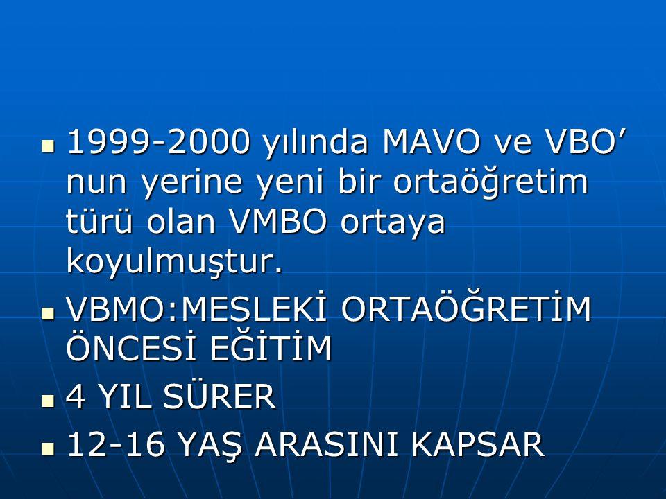 1999-2000 yılında MAVO ve VBO' nun yerine yeni bir ortaöğretim türü olan VMBO ortaya koyulmuştur.