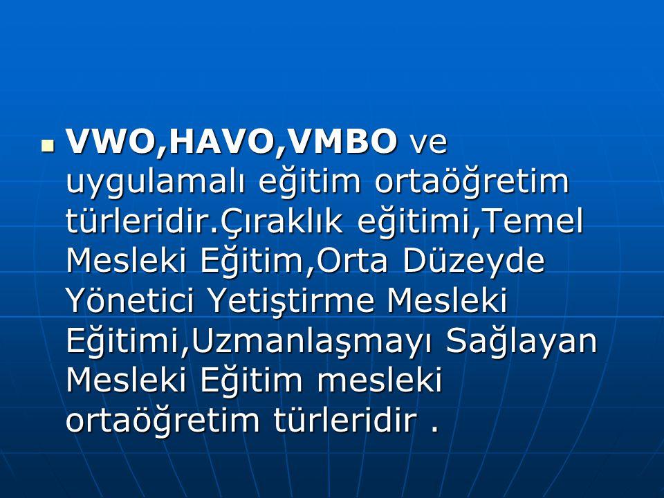 VWO,HAVO,VMBO ve uygulamalı eğitim ortaöğretim türleridir