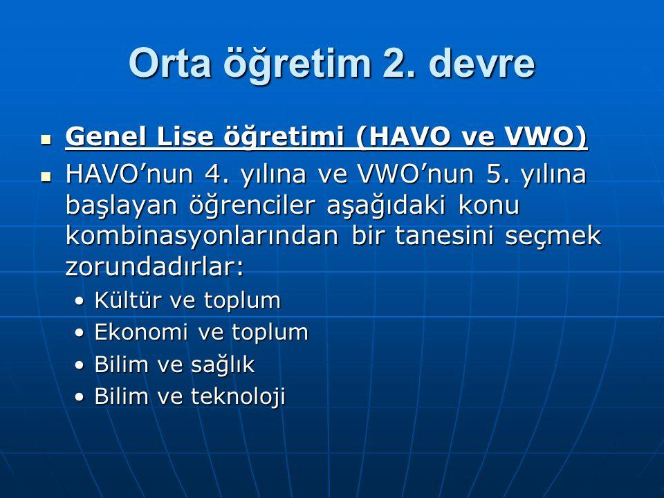 Orta öğretim 2. devre Genel Lise öğretimi (HAVO ve VWO)
