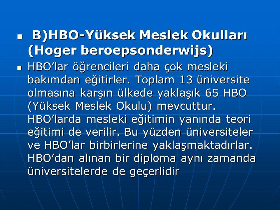 B)HBO-Yüksek Meslek Okulları (Hoger beroepsonderwijs)