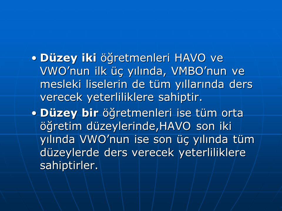 Düzey iki öğretmenleri HAVO ve VWO'nun ilk üç yılında, VMBO'nun ve mesleki liselerin de tüm yıllarında ders verecek yeterliliklere sahiptir.