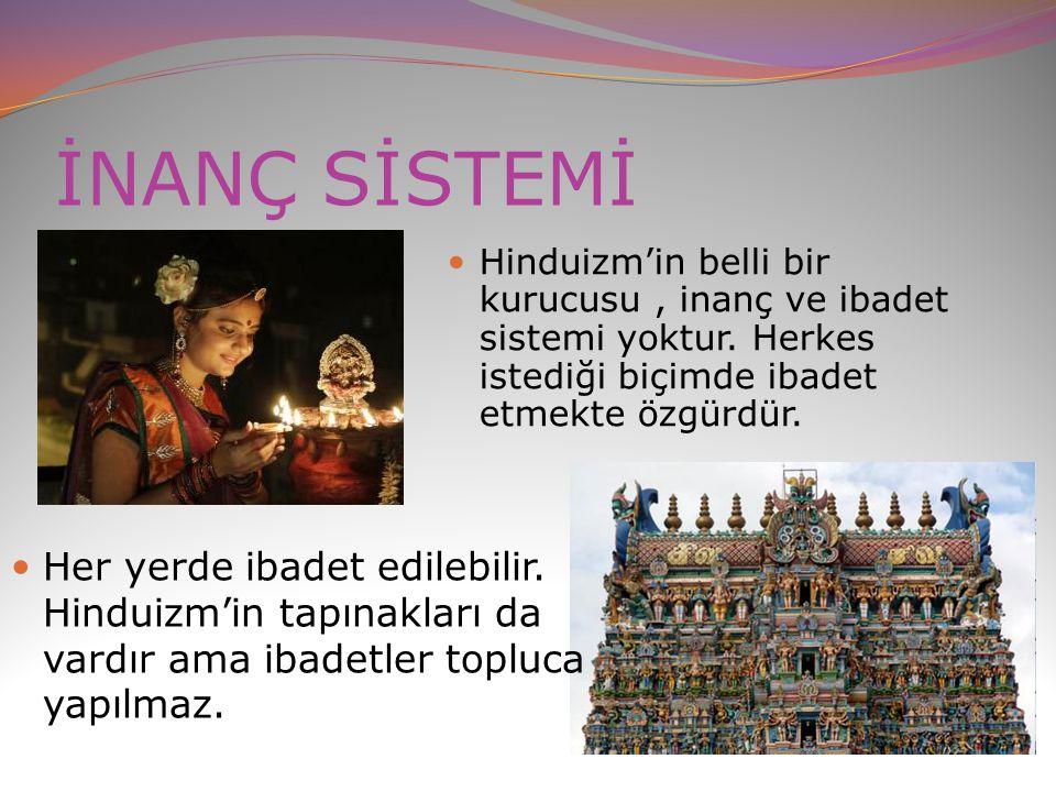 İNANÇ SİSTEMİ Hinduizm'in belli bir kurucusu , inanç ve ibadet sistemi yoktur. Herkes istediği biçimde ibadet etmekte özgürdür.