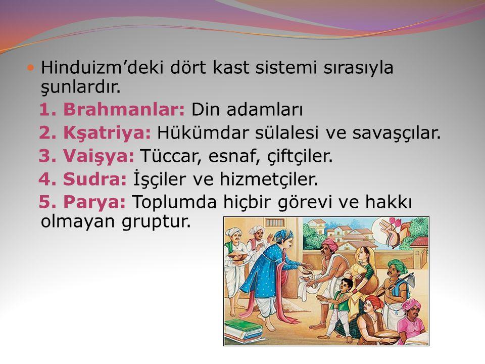 Hinduizm'deki dört kast sistemi sırasıyla şunlardır.