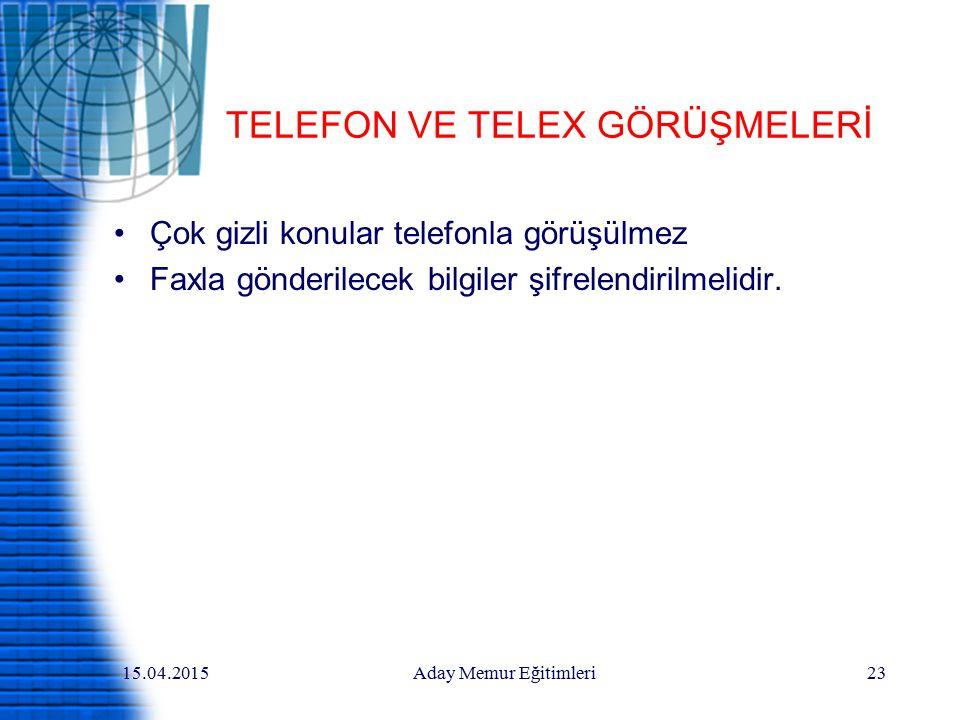 TELEFON VE TELEX GÖRÜŞMELERİ