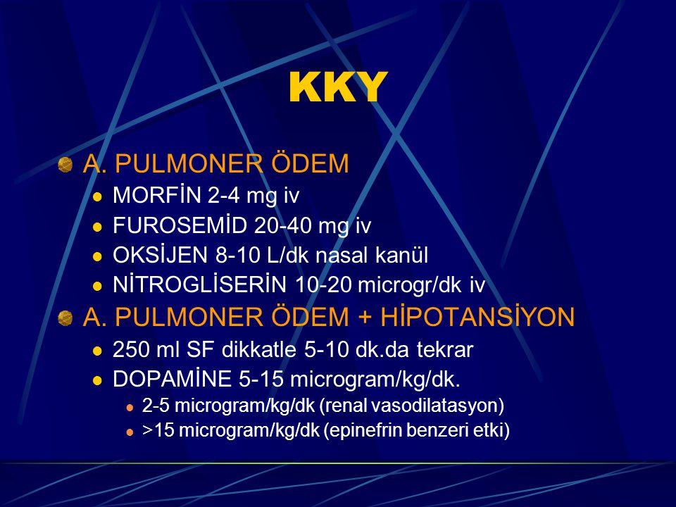 KKY A. PULMONER ÖDEM A. PULMONER ÖDEM + HİPOTANSİYON MORFİN 2-4 mg iv