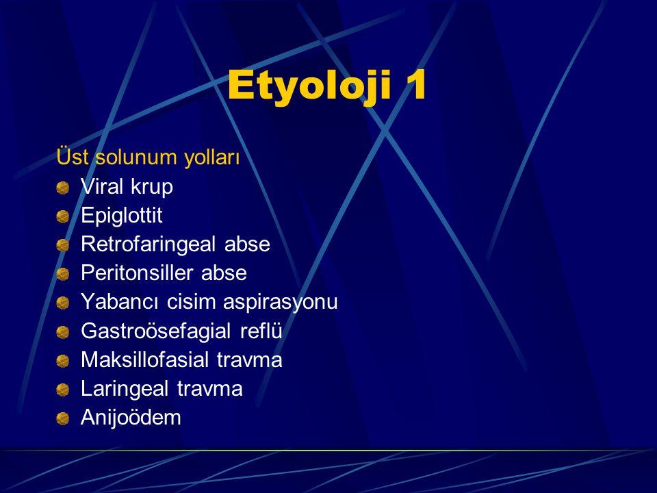 Etyoloji 1 Üst solunum yolları Viral krup Epiglottit