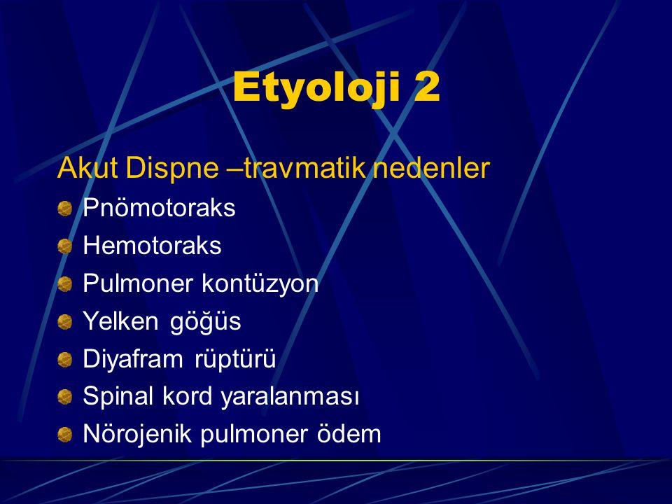 Etyoloji 2 Akut Dispne –travmatik nedenler Pnömotoraks Hemotoraks