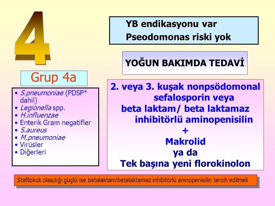 4 Grup 4a YB endikasyonu var Pseodomonas riski yok