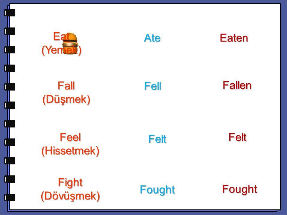 Eat (Yemek) Ate. Eaten. Fallen. Fall (Düşmek) Fell. Felt. Felt. Feel (Hissetmek) Fight (Dövüşmek)