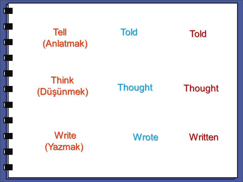 Told Tell (Anlatmak) Told Think (Düşünmek) Thought Thought Wrote Written Write (Yazmak)