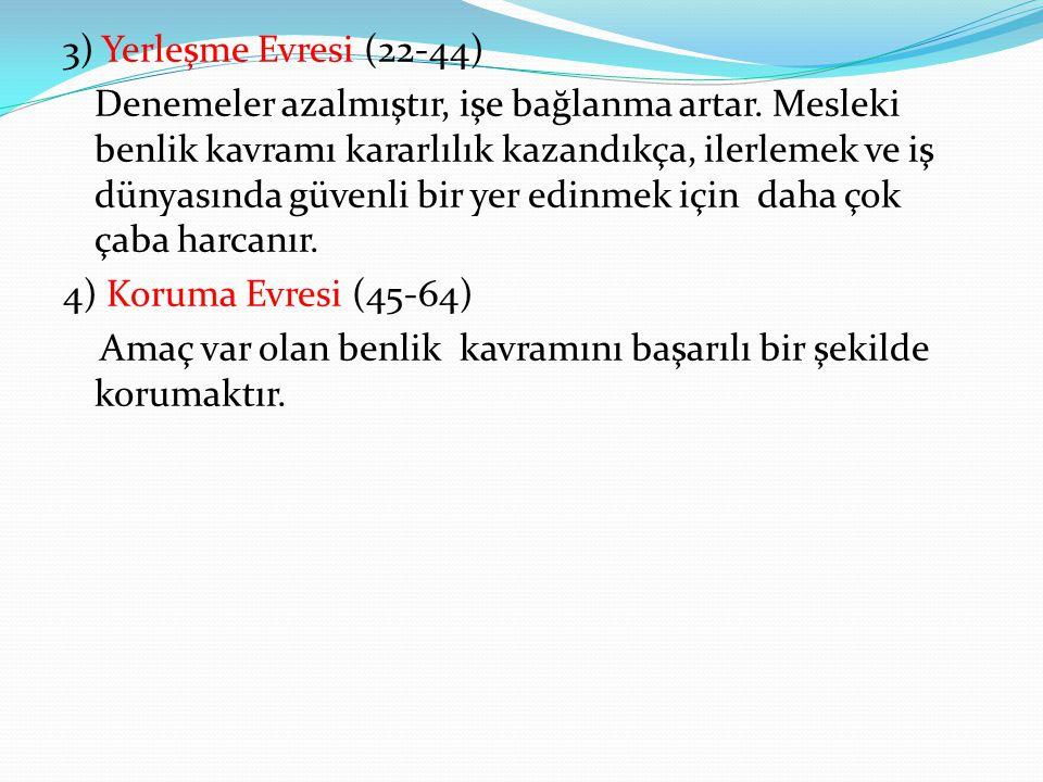 3) Yerleşme Evresi (22-44) Denemeler azalmıştır, işe bağlanma artar