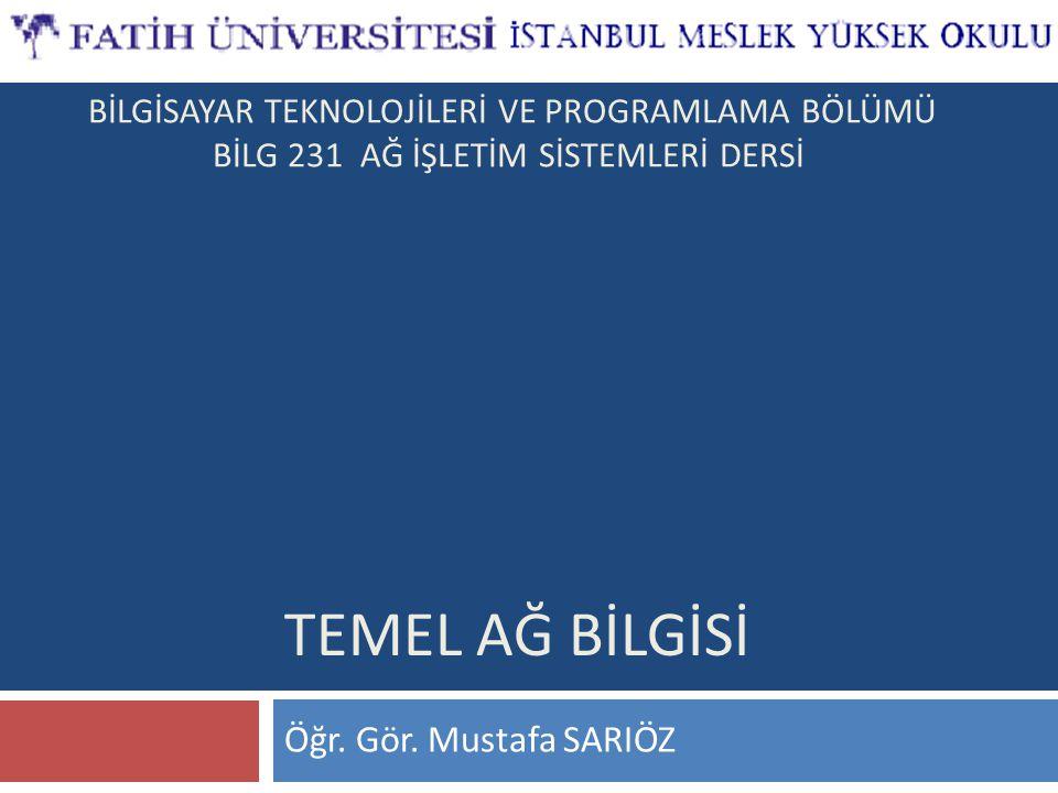 TEMEL AĞ BİLgİsİ Öğr. Gör. Mustafa SARIÖZ