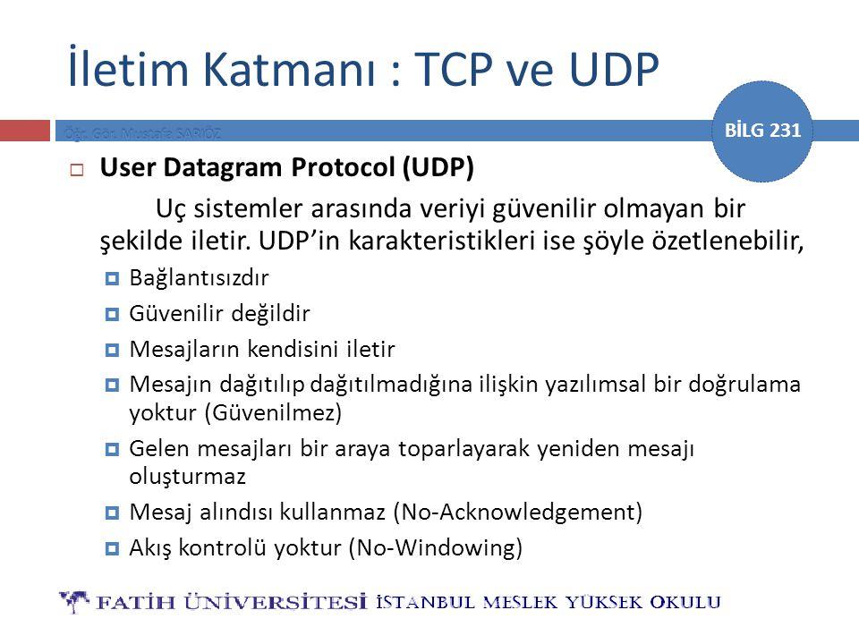 İletim Katmanı : TCP ve UDP