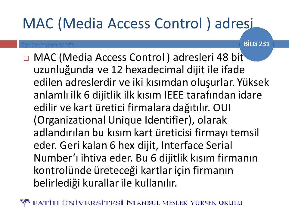 MAC (Media Access Control ) adresi