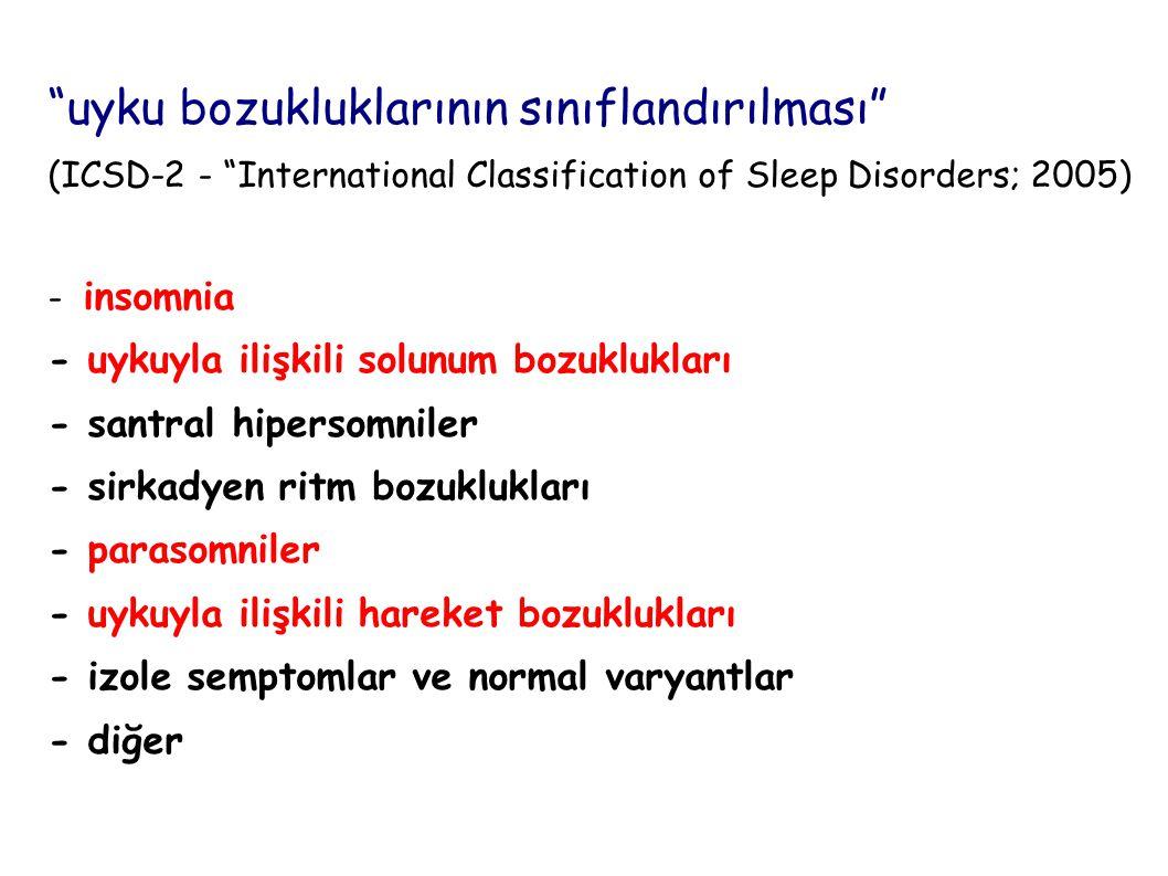 uyku bozukluklarının sınıflandırılması