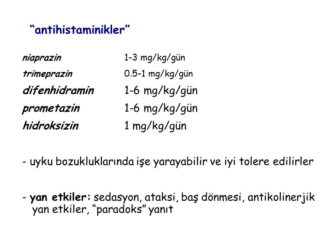 antihistaminikler difenhidramin 1-6 mg/kg/gün