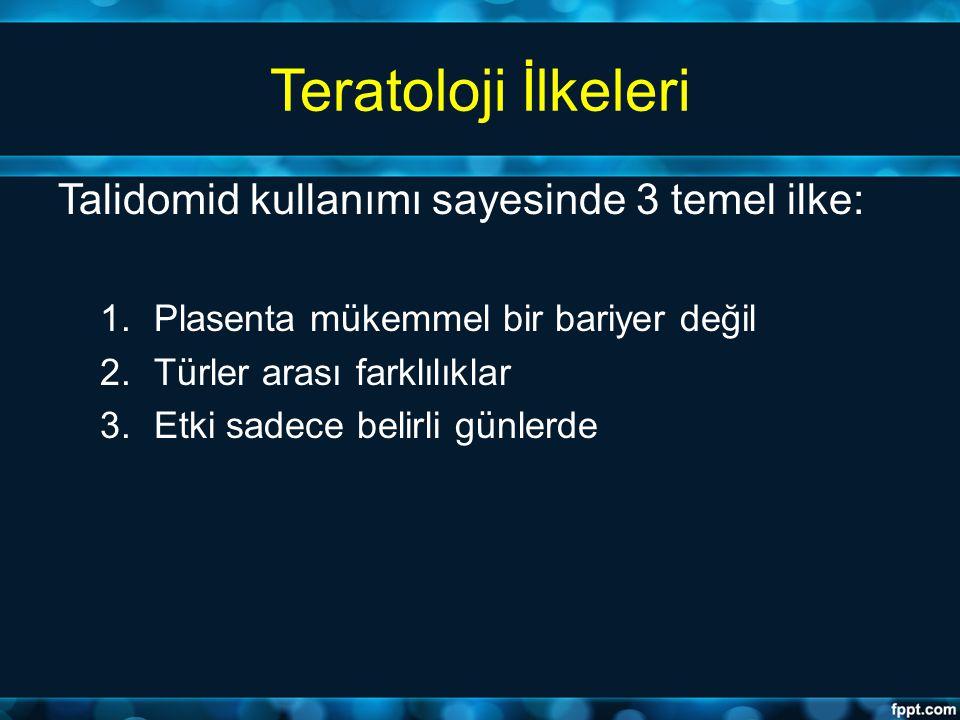 Teratoloji İlkeleri Talidomid kullanımı sayesinde 3 temel ilke: