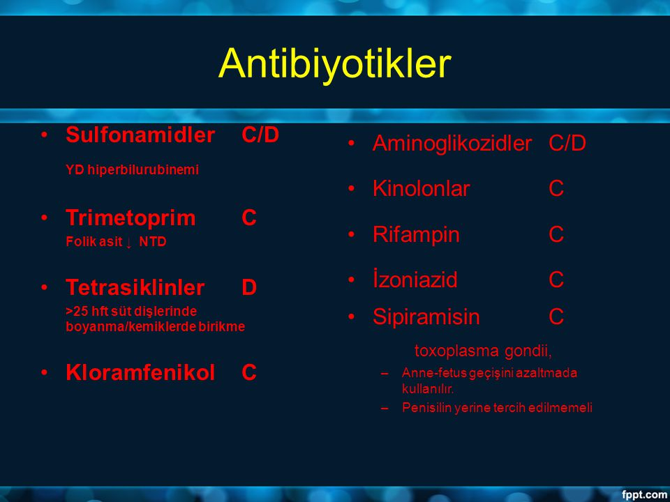 Antibiyotikler Sulfonamidler C/D YD hiperbilurubinemi Trimetoprim C