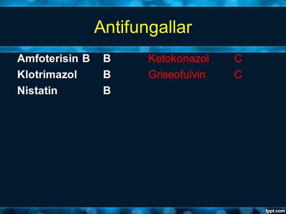 Antifungallar Amfoterisin B B Klotrimazol B Nistatin B Ketokonazol C