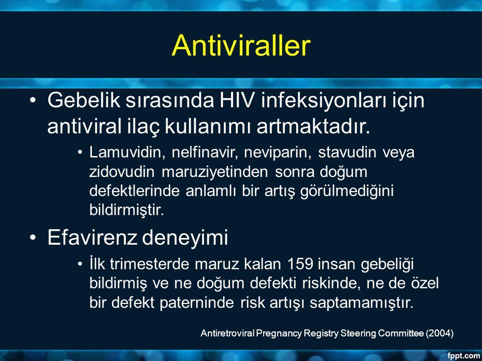 Antiviraller Gebelik sırasında HIV infeksiyonları için antiviral ilaç kullanımı artmaktadır.