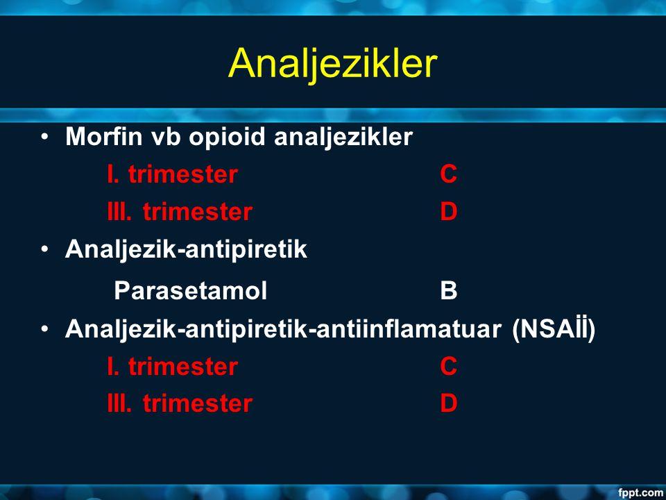 Analjezikler Morfin vb opioid analjezikler I. trimester C