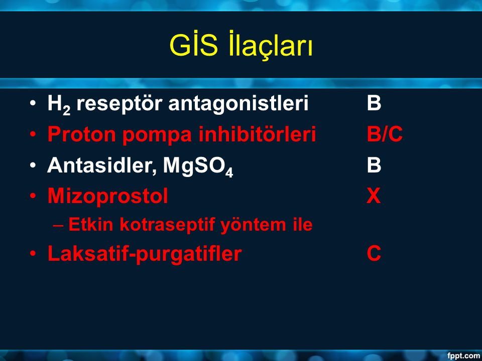 GİS İlaçları H2 reseptör antagonistleri B