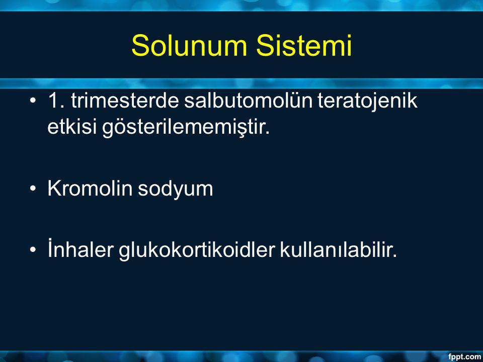 Solunum Sistemi 1. trimesterde salbutomolün teratojenik etkisi gösterilememiştir. Kromolin sodyum.