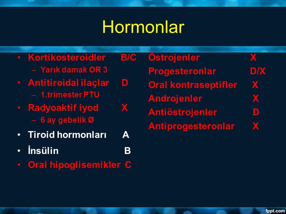Hormonlar Kortikosteroidler B/C Antitiroidal ilaçlar D