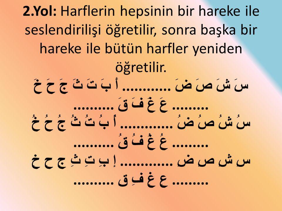 2.Yol: Harflerin hepsinin bir hareke ile seslendirilişi öğretilir, sonra başka bir hareke ile bütün harfler yeniden öğretilir.