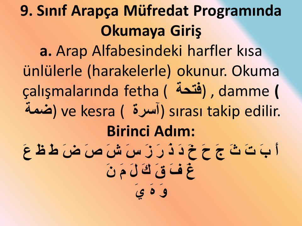 9. Sınıf Arapça Müfredat Programında Okumaya Giriş a