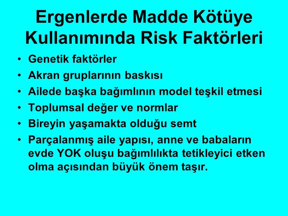 Ergenlerde Madde Kötüye Kullanımında Risk Faktörleri