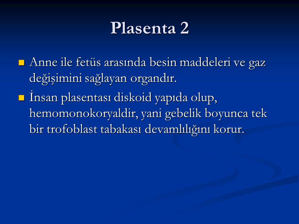 Plasenta 2 Anne ile fetüs arasında besin maddeleri ve gaz değişimini sağlayan organdır.