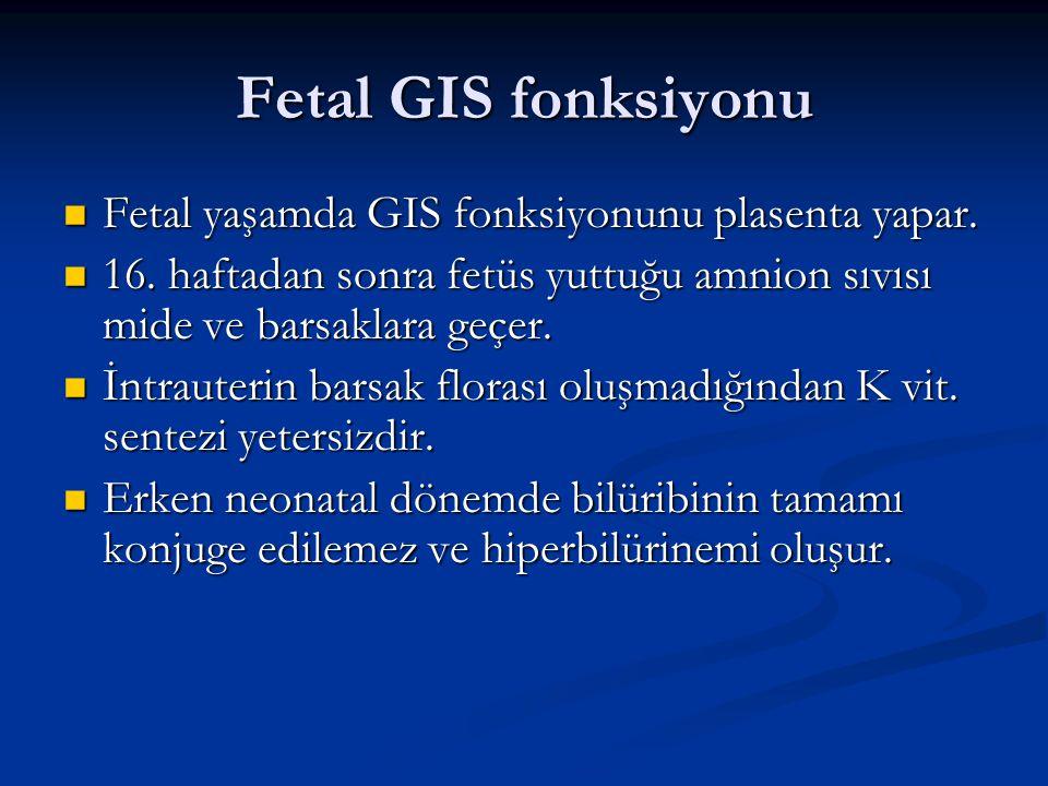 Fetal GIS fonksiyonu Fetal yaşamda GIS fonksiyonunu plasenta yapar.