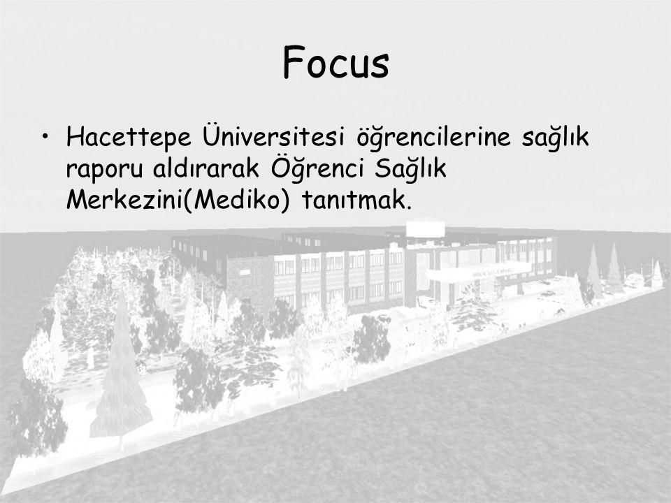 Focus Hacettepe Üniversitesi öğrencilerine sağlık raporu aldırarak Öğrenci Sağlık Merkezini(Mediko) tanıtmak.