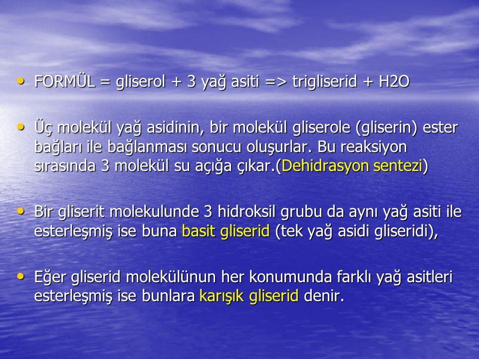 FORMÜL = gliserol + 3 yağ asiti => trigliserid + H2O