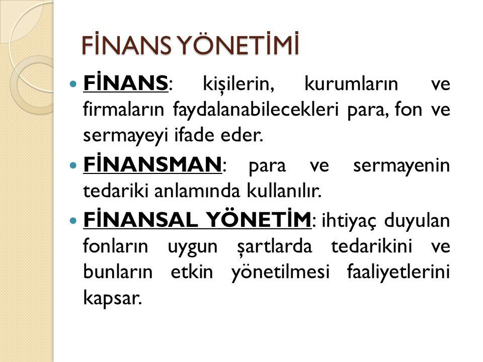 FİNANS YÖNETİMİ FİNANS: kişilerin, kurumların ve firmaların faydalanabilecekleri para, fon ve sermayeyi ifade eder.