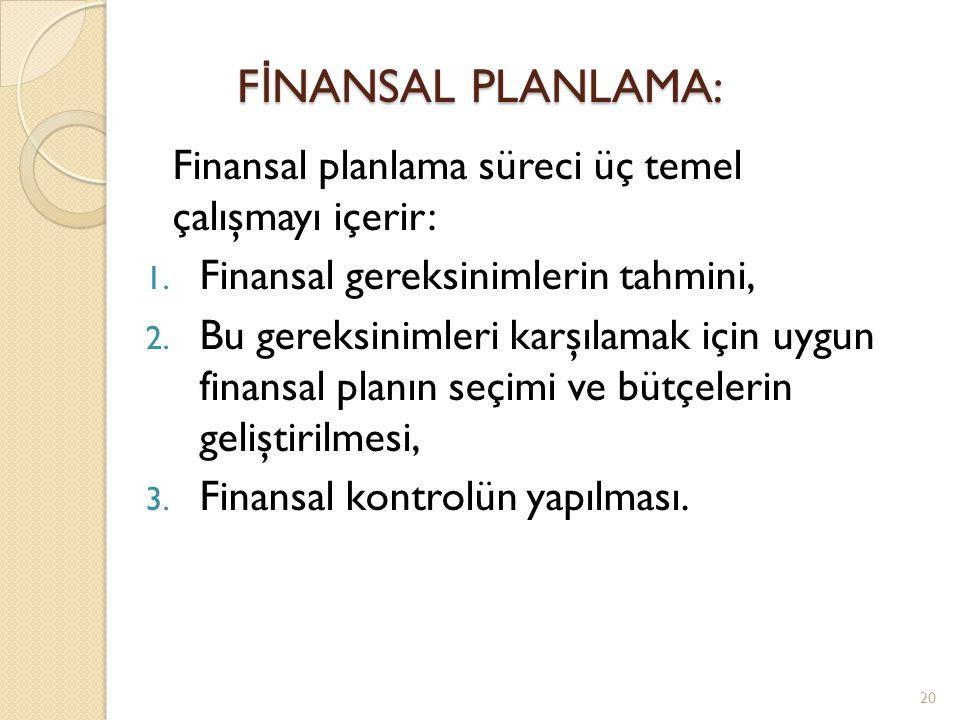 FİNANSAL PLANLAMA: Finansal planlama süreci üç temel çalışmayı içerir: