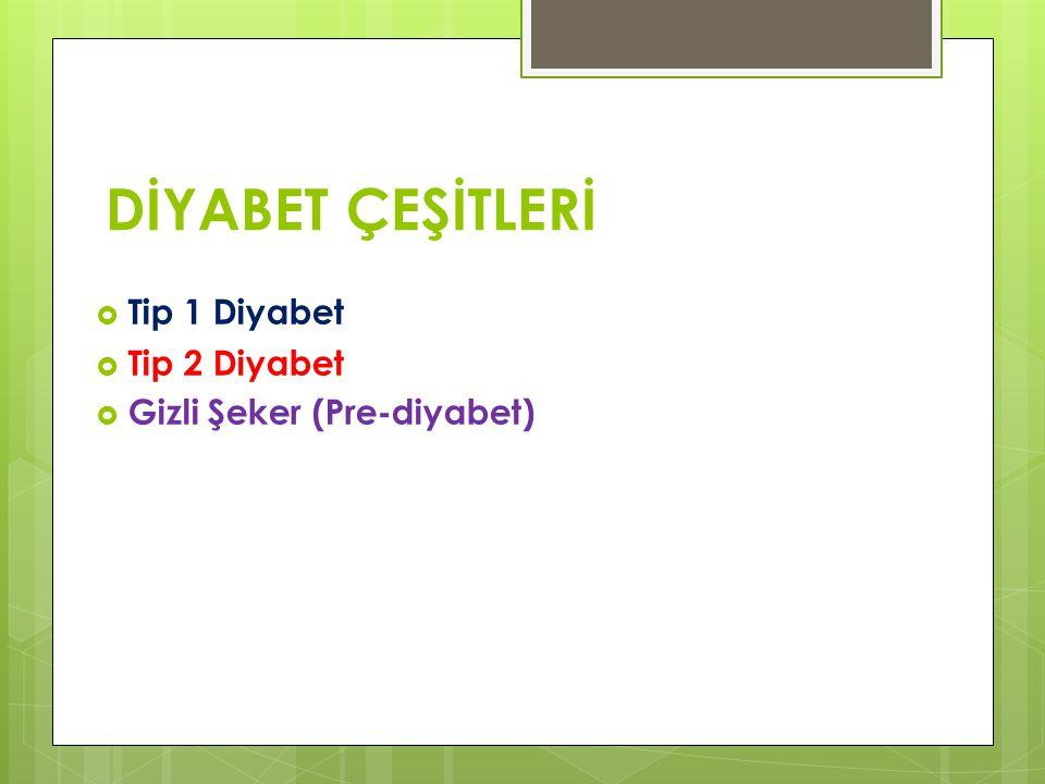 DİYABET ÇEŞİTLERİ Tip 1 Diyabet Tip 2 Diyabet