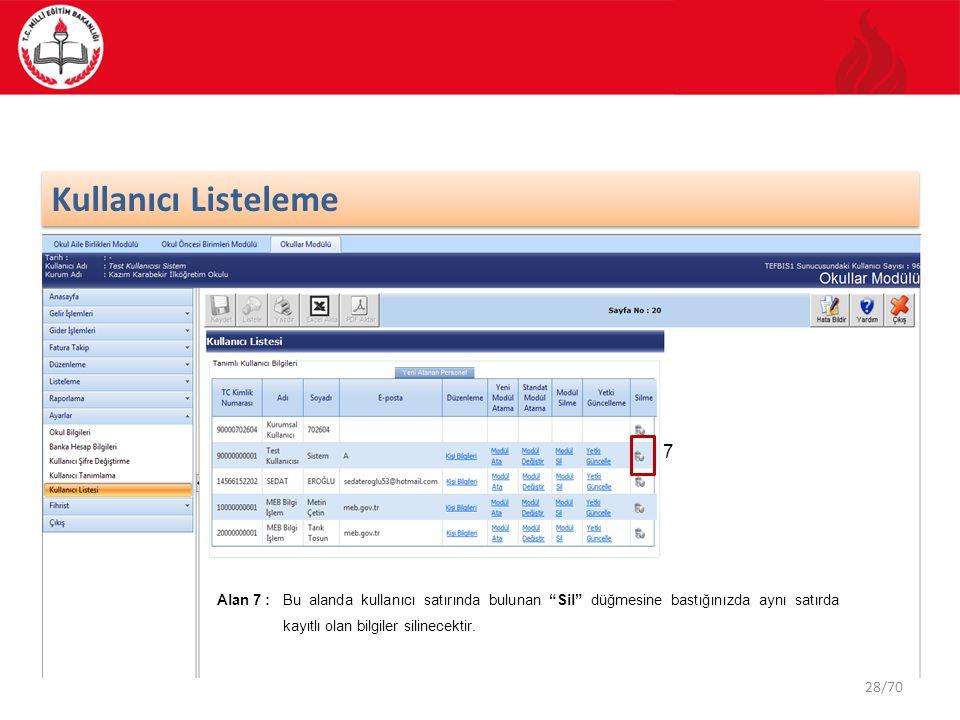 Kullanıcı Listeleme 7.