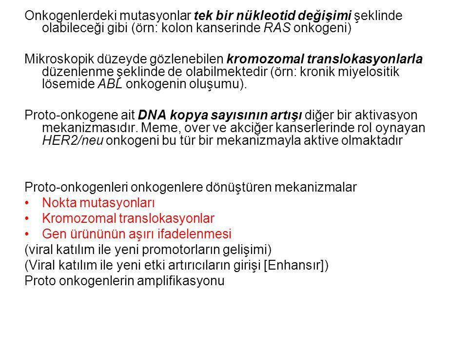 Onkogenlerdeki mutasyonlar tek bir nükleotid değişimi şeklinde olabileceği gibi (örn: kolon kanserinde RAS onkogeni)
